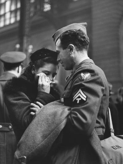 Soldier Consoling Wife as He Says Goodbye at Penn Station before Returning to Duty, WWII-Alfred Eisenstaedt-Photographic Print