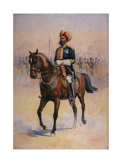 Soldier of the 14th Murray's Jat Lancers, Risaldar-Major, Illustration for 'Armies of India' by…-Alfred Crowdy Lovett-Giclee Print
