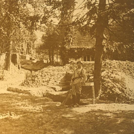 Soldier outside trench, Bois des Loges, northern France, c1914-c1918-Unknown-Photographic Print