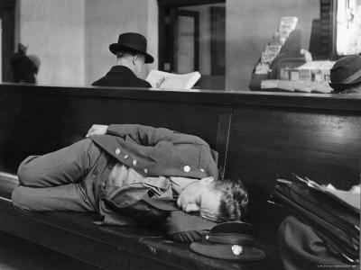 Soldier Sleeping on Bench in Waiting Room at Pennsylvania Station-Alfred Eisenstaedt-Photographic Print