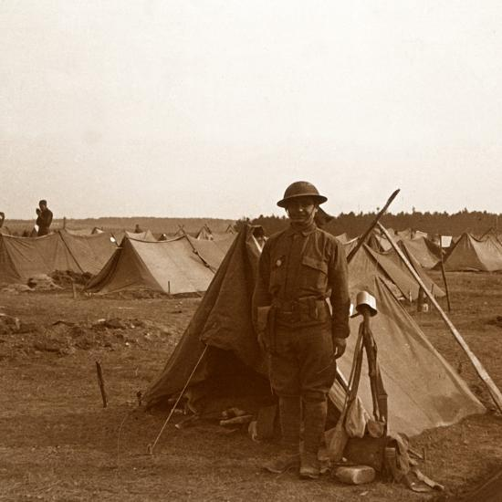 Soldier standing by tent, American camp, Melette, France, c1914-c1918-Unknown-Photographic Print