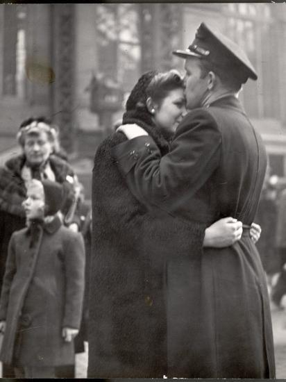 Soldier Tenderly Kissing His Girlfriend's Forehead as She Embraces Him While Saying Goodbye-Alfred Eisenstaedt-Photographic Print