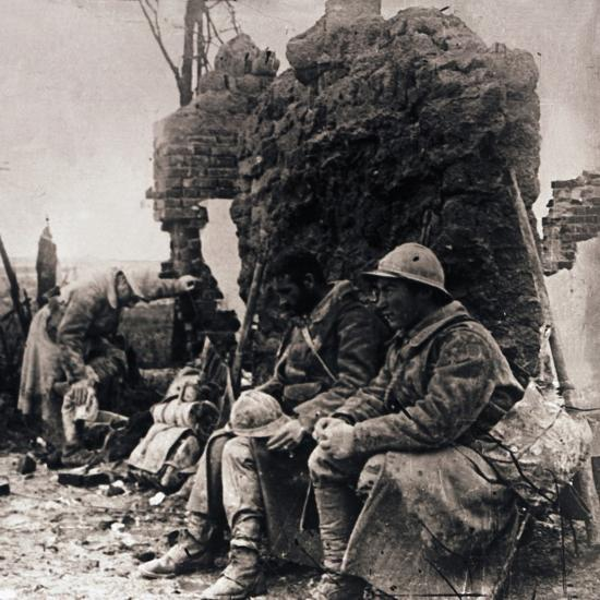 Soldiers among ruins, c1914-c1918-Unknown-Photographic Print