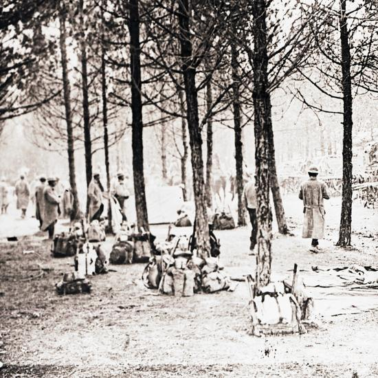 Soldiers and packs in woods, c1914-c1918-Unknown-Photographic Print