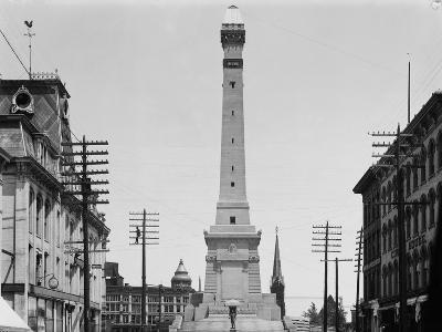 Soldiers and Sailors Monument during Construction in Indianapolis--Photographic Print