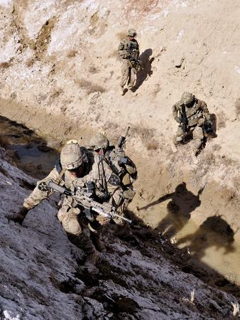 Soldiers Approach a Suspected Weapons Cache in Afghanistan-Stocktrek Images-Photographic Print