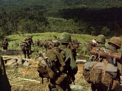 Soldiers Descend the Side of Hill 742, Five Miles Northwest of Dak To, Vietnam-Stocktrek Images-Photographic Print