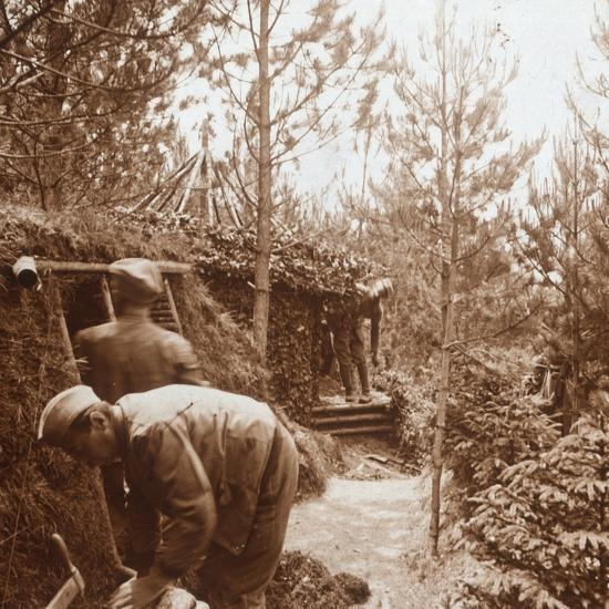 Soldiers in earth-covered shelters, Genicourt, northern France, c1914-c1918-Unknown-Photographic Print