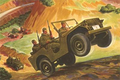 Soldiers in Jeeps--Art Print