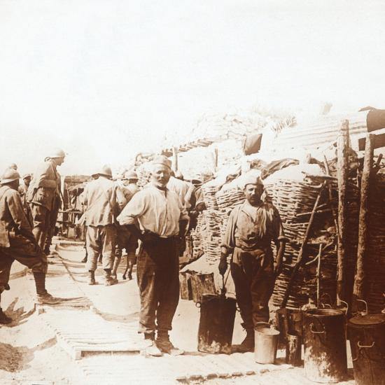 Soldiers in the trenches, Belgium, c1914-c1918-Unknown-Photographic Print