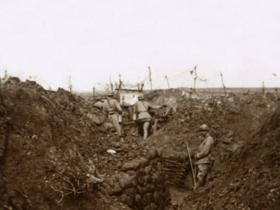 Soldiers in the trenches, Massiges, northern France, c1914-c1918-Unknown-Photographic Print