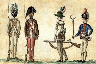 Soldiers in Uniform, 1781-84-Jean Baptiste Antoine de Verger-Giclee Print