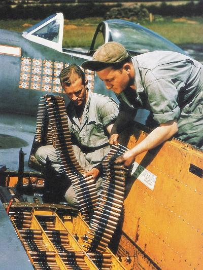 Soldiers Loading Ammunition and Weapons into a Republic P-47 Thunderbolt, Southern England, 1944--Photographic Print