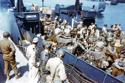 Soldiers of the 1st Infantry Division of the US Army Have Boarded the Landing Craft Transport--Photographic Print