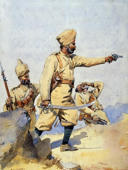Soldiers of the 24th Punjabis Malikdin Khel (Afridi) and Subadar, Jay Sikh, Illustration for…-Alfred Crowdy Lovett-Giclee Print