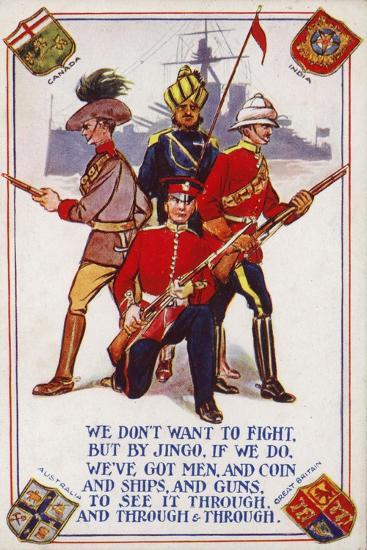 Soldiers of the Armies of Canada, India, Australia and Great Britain--Giclee Print