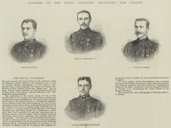 Soldiers of the Royal Fusiliers Decorated for Valour--Giclee Print