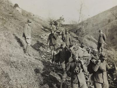 Soldiers of the Section of Health Engaged in the Evacuation of the Wounded During the WWI-Luigi Verdi-Photographic Print