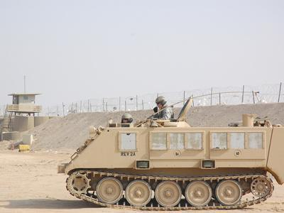 Soldiers Patrol in An M-113 Armored Personnel Carrier-Stocktrek Images-Framed Photographic Print