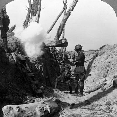 Soldiers Waiting in the Trenches to Go over the Top, World War I, 1914-1918--Photographic Print