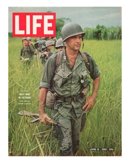 Soldiers Walking Through Grass in Vietnam, June 12, 1964-Larry Burrows-Photographic Print
