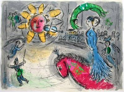 Soleil Au Cheval Rouge-Marc Chagall-Premium Edition
