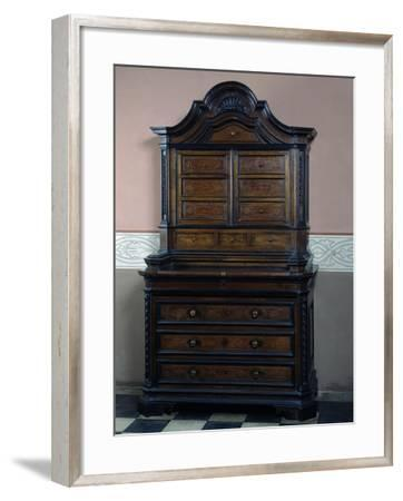 Solid Walnut Dresser with Three Drawers in Lower Body Inlaid with Pear Wood--Framed Giclee Print