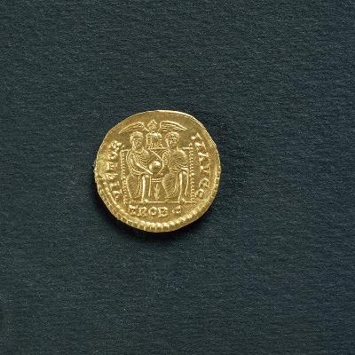 Solidus of Emperor Valentinian I from 367 A.D, Coin Reverse with Emperors Valentinian--Giclee Print