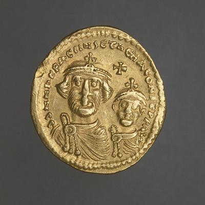 Solidus of Heraclius Bearing Image of Emperor and His Son, Recto, Byzantine Coins, 7th Century--Giclee Print