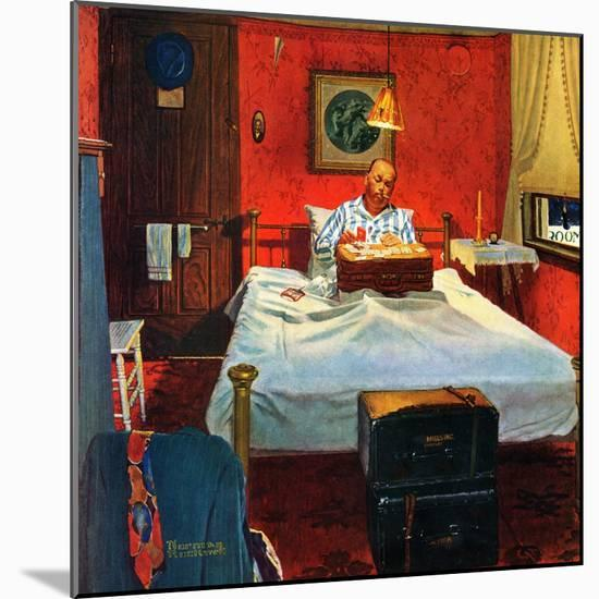 """""""Solitaire"""", August 19,1950-Norman Rockwell-Mounted Premium Giclee Print"""