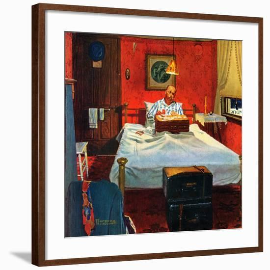 """""""Solitaire"""", August 19,1950-Norman Rockwell-Framed Premium Giclee Print"""