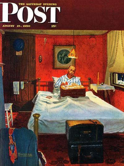 """""""Solitaire"""" Saturday Evening Post Cover, August 19,1950-Norman Rockwell-Giclee Print"""