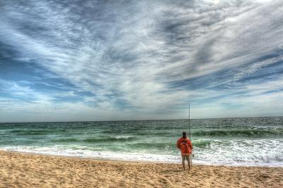 Solitary Surf Fisherman-Robert Goldwitz-Photographic Print