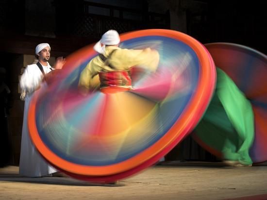 Solo Drummer and Two Sufi Dancers, Egypt-David Clapp-Photographic Print