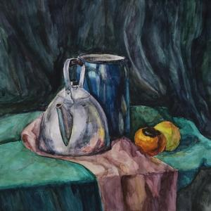 Still Life With Metal Teapot And Milk-Can by Solodkov