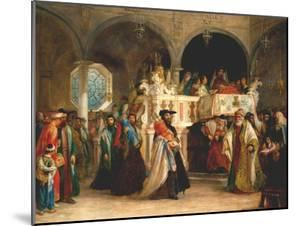 The Feast of the Rejoicing of the Torah at the Synagogue in Leghorn, Italy, 1850 by Solomon Alexander Hart