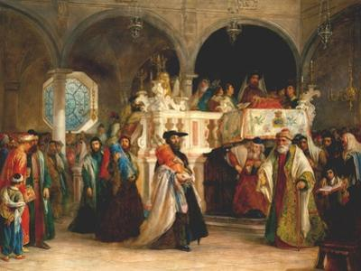 The Feast of the Rejoicing of the Torah at the Synagogue in Leghorn, Italy, 1850