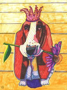 Basset Hound With Flower by Solveig Studio
