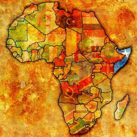 Somalia on Actual Map of Africa-michal812-Art Print