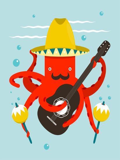 Sombrero Macho Moustache Octopus Playing Guitar. Underwater Mexican Guitarist. Vector Layered Eps8-Popmarleo-Art Print