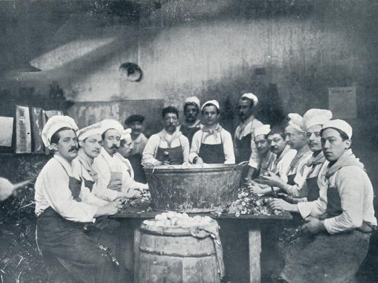 Some of the cooks preparing the soup at the Messagerie Van Gand, c1914-Unknown-Photographic Print