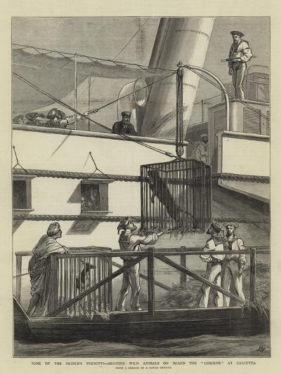 Some of the Prince's Presents, Shipping Wild Animals on Board the Osborne at Calcutta-Joseph Nash-Giclee Print