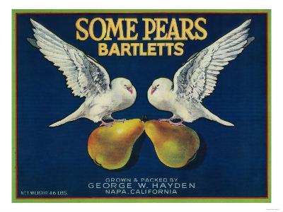 Some Pears Pear Crate Label - Napa, CA-Lantern Press-Art Print