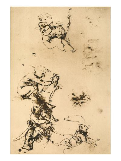 Some Studies for the Madonna with the Cat Pen Drawing on White Paper-Leonardo da Vinci-Giclee Print