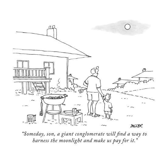 """""""Someday, son, a giant conglomerate will find a way to harness the moonlig?"""" - New Yorker Cartoon-Jack Ziegler-Premium Giclee Print"""