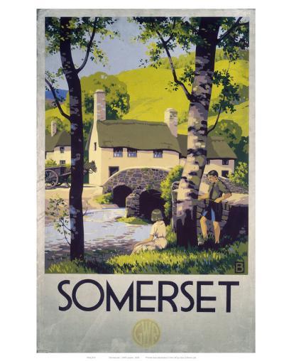 Somerset Boy and Girl by Bridge--Art Print
