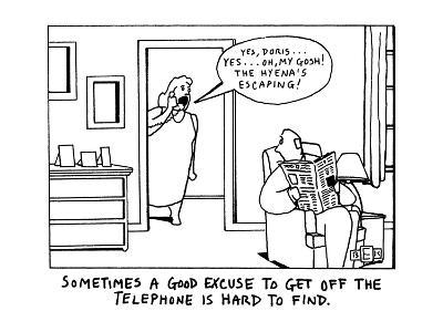 "Sometimes a Good Excuse to Get off the Telephone is Hard to Find. ""Yes, Do?"" - New Yorker Cartoon-Bruce Eric Kaplan-Premium Giclee Print"