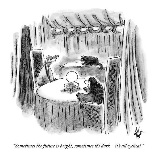 """""""Sometimes the future is bright, sometimes it's dark?it's all cyclical."""" - New Yorker Cartoon-Frank Cotham-Premium Giclee Print"""