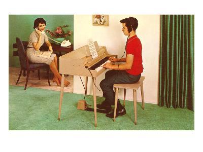 Son on the Silent Electric Organ, Retro--Art Print