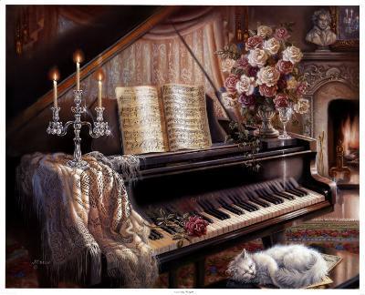 Sonata by Firelight-Judy Gibson-Art Print